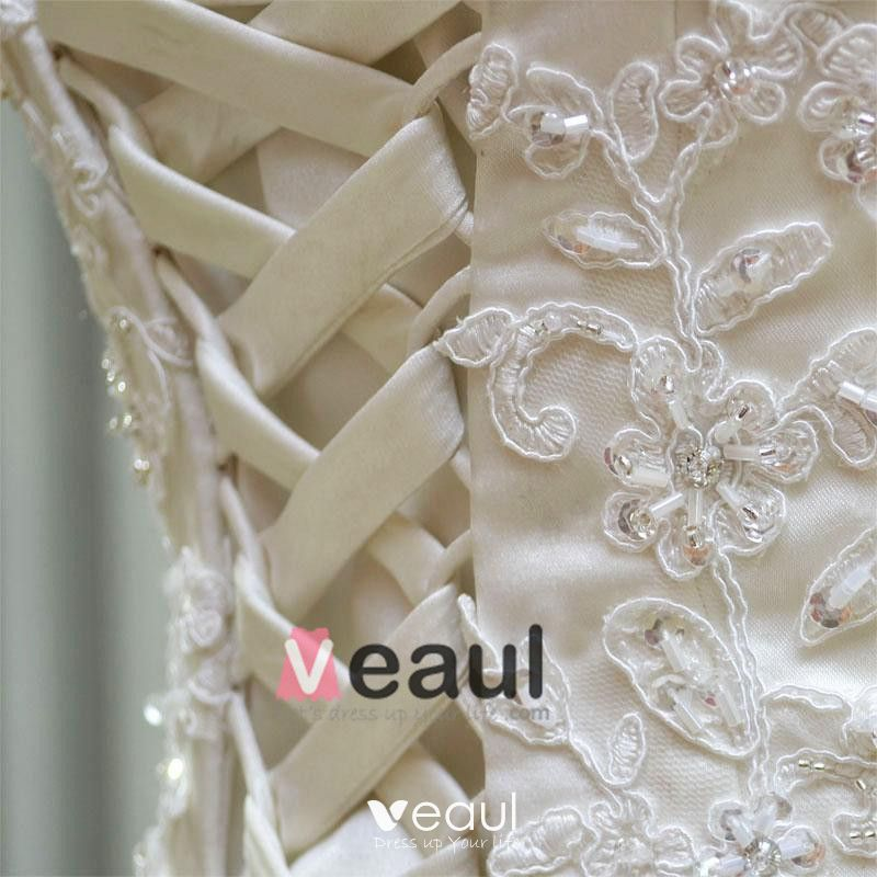 Satin Tulle Lace Beading Embroidery Sweetheart Floor Length Brush Train A-Line Wedding Dress