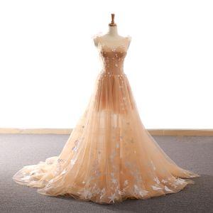 Chic / Belle Champagne Robe De Soirée 2018 Princesse Étoile Papillon Encolure Dégagée Dos Nu Sans Manches Tribunal Train Robe De Ceremonie