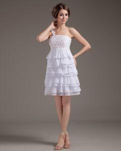 Chiffon Rüschen Geschichteten Kurze Hochzeitskleid Brautkleider