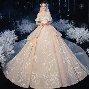 Najlepiej Szampan ślubna Suknie Ślubne 2020 Suknia Balowa Przy Ramieniu Kótkie Rękawy Bez Pleców Aplikacje Z Koronki Frezowanie Cekinami Tiulowe Trenem Katedra Wzburzyć