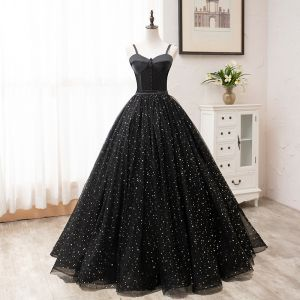 Elegant Black Prom Dresses 2020 A-Line / Princess Spaghetti Straps Star Sequins Sleeveless Backless Floor-Length / Long Formal Dresses