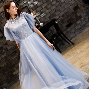 Vintage / Retro Sky Blue Prom Dresses 2019 A-Line / Princess Lace Scoop Neck Backless Short Sleeve Floor-Length / Long Formal Dresses