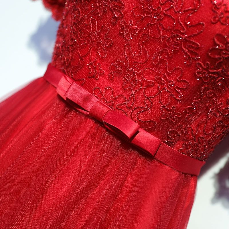 Luxury / Gorgeous Red Formal Dresses 2017 Lace Flower Bow Sequins Square Neckline Short Sleeve Floor-Length / Long A-Line / Princess Evening Dresses