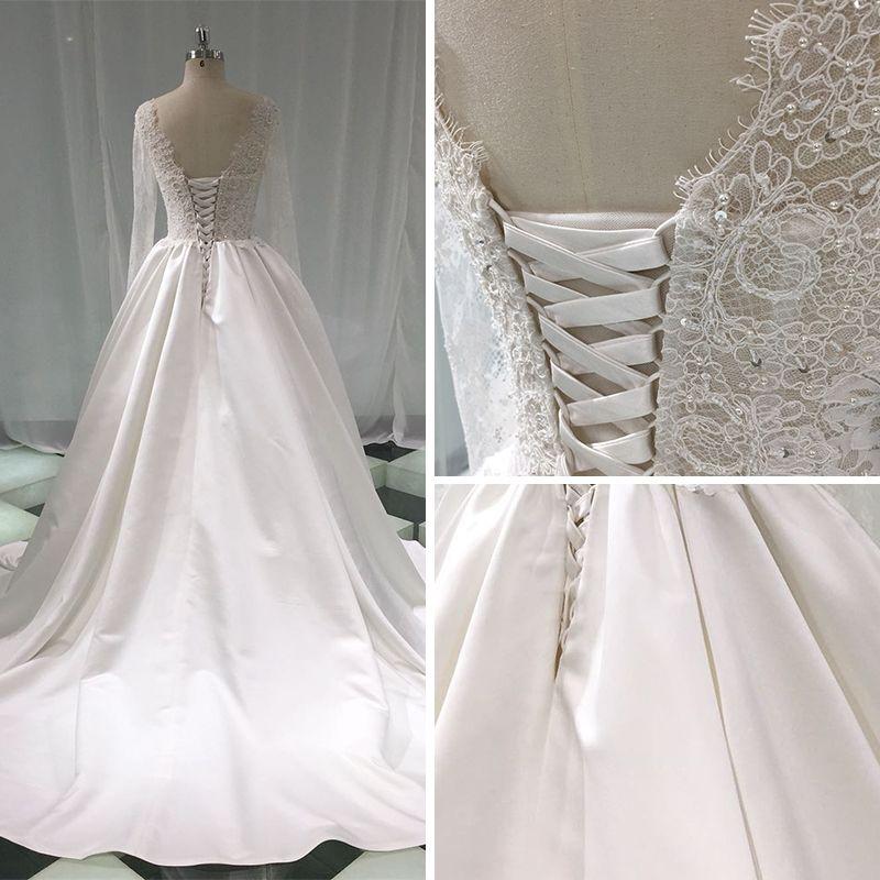 Illusion Ivory Satin Wedding Dresses 2019 A-Line / Princess Deep V-Neck Long Sleeve Backless Pearl Beading Chapel Train Ruffle