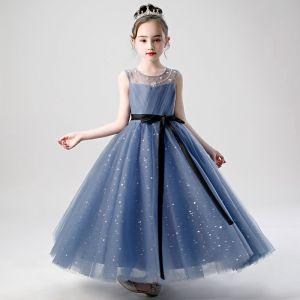 Chic / Beautiful Ink Blue Birthday Flower Girl Dresses 2020 A-Line / Princess Scoop Neck Sleeveless Beading Star Sequins Sash Floor-Length / Long Ruffle