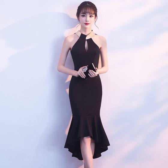 Piękne Czarne Strona Sukienka 2018 Syrena / Rozkloszowane Posiadacz Bez Rękawów Długość Herbaty Wzburzyć Bez Pleców Sukienki Wizytowe