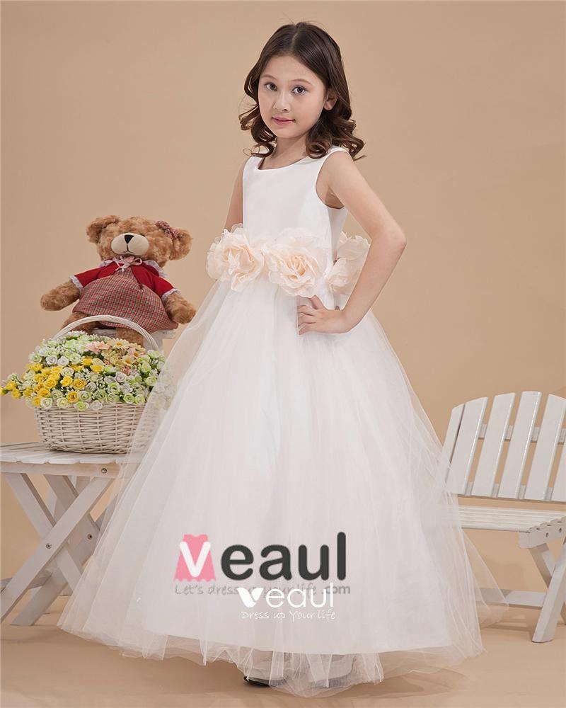 Tulle Pleated Hand Flower Floor Length Flower Girl Dresses
