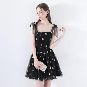 Piękne Czarne Homecoming Sukienki Na Studniówke 2018 Princessa Plecy Bez Rękawów Gwiazda Cekiny Krótkie Wzburzyć Bez Pleców Sukienki Wizytowe