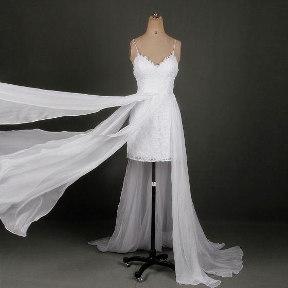 Klassisch Elegante Weiß Kurze Hochzeit 2018 A Linie V-Ausschnitt Schnüren Applikationen Rückenfreies Strand Brautkleider