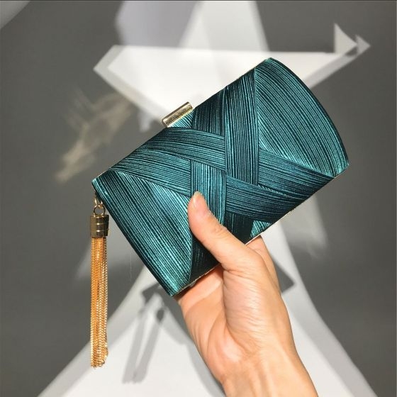 Modest / Simple Dark Green Square Ruffle Clutch Bags 2020 Metal Tassel