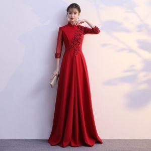 Elegante Borgoña Vestidos de noche 2019 A-Line / Princess Cuello Alto Bowknot Con Encaje Flor 1/2 Ærmer Largos Vestidos Formales