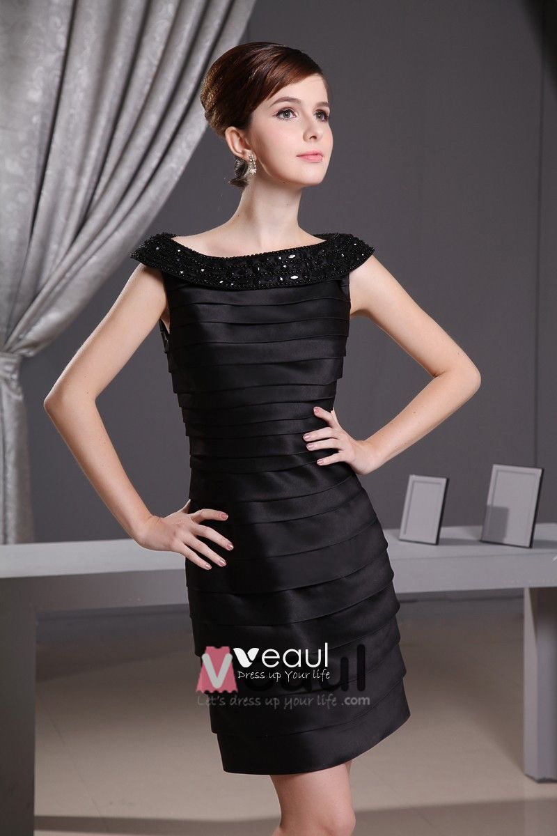 Satin Silk Beading Bateau Neck Thigh Length Mother of the Bride Dress