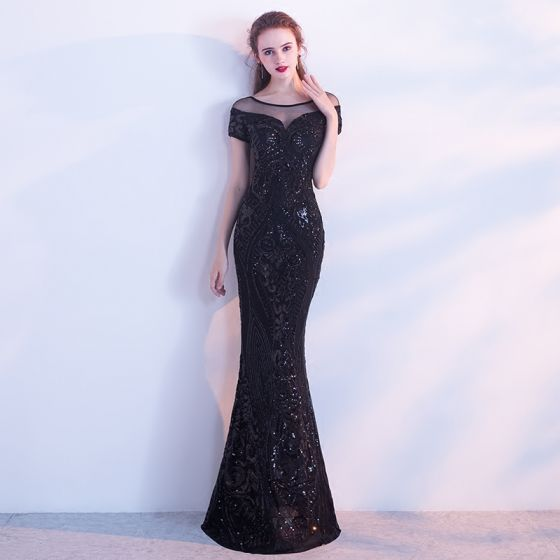 Chic / Beautiful Black Evening Dresses  2017 Trumpet / Mermaid Scoop Neck Short Sleeve Pierced Sequins Floor-Length / Long Backless Formal Dresses
