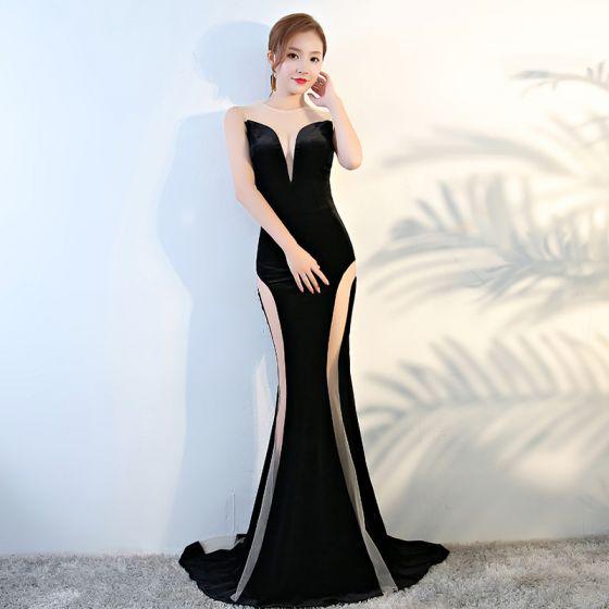Sexy Black See-through Evening Dresses  2020 Trumpet / Mermaid Scoop Neck Sleeveless Sweep Train Formal Dresses