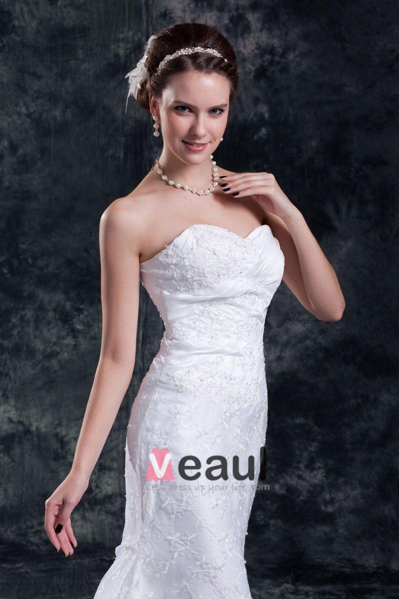 Lace Flower Sequins Sweetheart Court Train Sheath Wedding Dress
