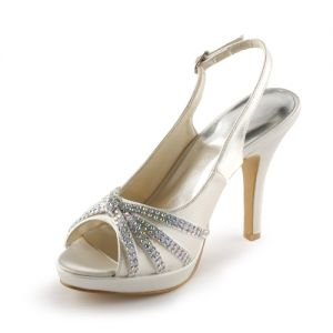 Sparkly Champagne Bridal Shoes Satin Peep Toe Stilettos Slingbacks With Rhinestone
