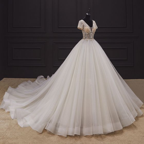 Luxury / Gorgeous Champagne Bridal Wedding Dresses 2020 Ball Gown Deep V-Neck Short Sleeve Backless Heart-shaped Handmade  Beading Cathedral Train