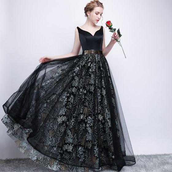 Piękne Czarne Sukienki Na Bal 2017 Princessa Metal Szarfa Haftowane V-Szyja Bez Pleców Bez Rękawów Długie Sukienki Wizytowe