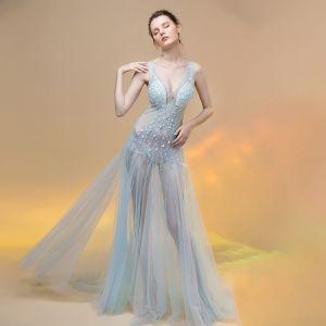 Sexy Sky Blue See-through Summer Evening Dresses  2018 A-Line / Princess V-Neck Sleeveless Beading Sweep Train Ruffle Backless Formal Dresses