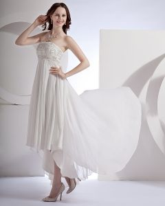 Embroidery Ruffle Chiffon Satin Floor Length Mini Bridal Gown Wedding Dress/Graduation Dresses