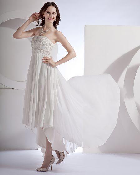 Embroidery Ruffle Chiffon Satin Floor Length Mini Bridal Gown Wedding Dress/Graduation Dresses