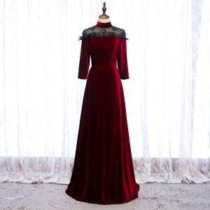 Elegant Burgundy Evening Dresses  2020 A-Line / Princess Suede High Neck Beading Rhinestone 3/4 Sleeve Floor-Length / Long Formal Dresses