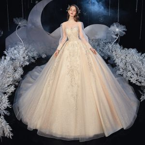 Vintage / Retro Victorian Style Champagne Bridal Wedding Dresses 2020 Ball Gown See-through High Neck Puffy Long Sleeve Backless Appliques Lace Beading Glitter Tulle Cathedral Train Ruffle