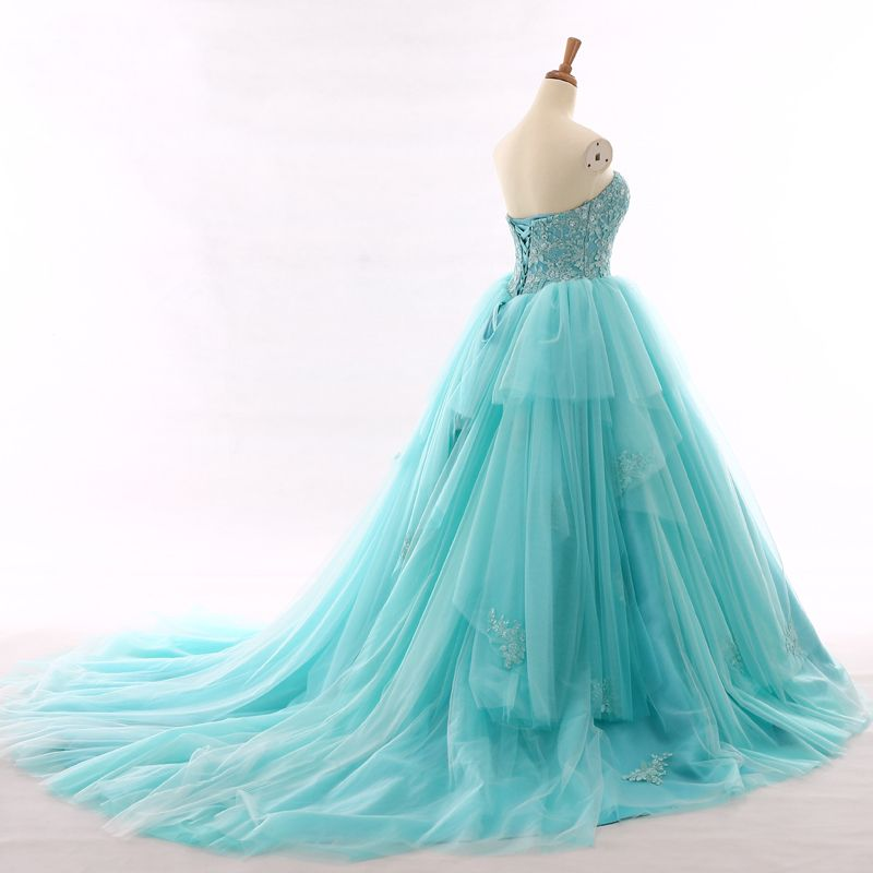 Chic / Beautiful Pool Blue Prom Dresses 2017 Sweetheart Backless Sleeveless Beading Ruffle Tulle Formal Dresses Chapel Train