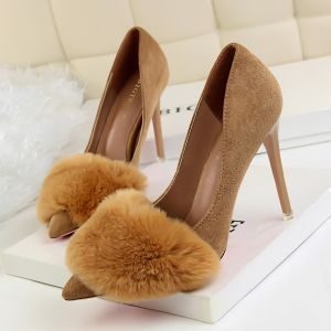 Affordable Khaki Casual Pumps 2020 Suede 10 cm Stiletto Heels Pointed Toe Pumps