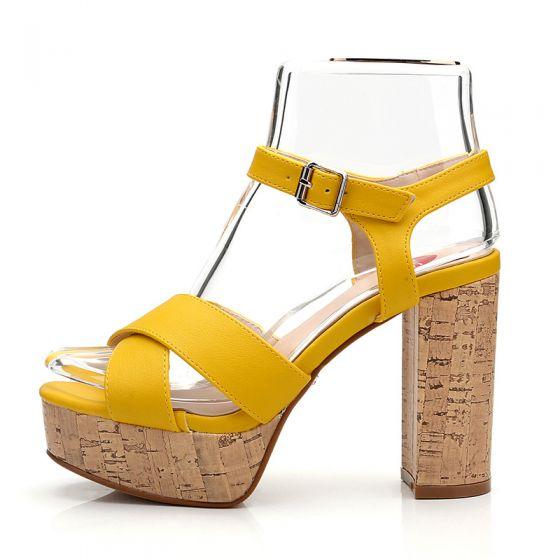 Moda Żółta Zużycie ulicy Sandały Damskie 2020 Z Paskiem 10 cm Grubym Obcasie Peep Toe Sandały
