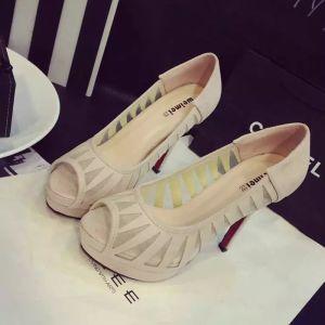 Chic / Beautiful Prom Pumps 2017 PU Pierced Open / Peep Toe Platform High Heel Pumps