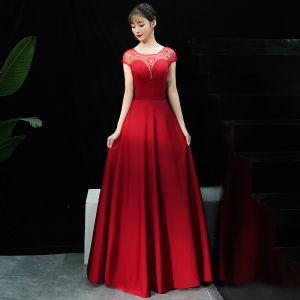 Chic / Belle Bordeaux Robe De Soirée 2019 Princesse Encolure Dégagée Paillettes Manches Courtes Dos Nu Longue Robe De Ceremonie