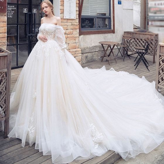 Elegant Champagne Wedding Dresses 2018 Ball Gown Off-The-Shoulder Long Sleeve Backless Appliques Lace Cathedral Train Ruffle