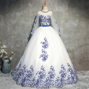 Chic / Beautiful Chinese style Prom Dresses 2017 Ball Gown Crystal Beading Lace Flower Bow Scoop Neck Backless Long Sleeve Floor-Length / Long Formal Dresses