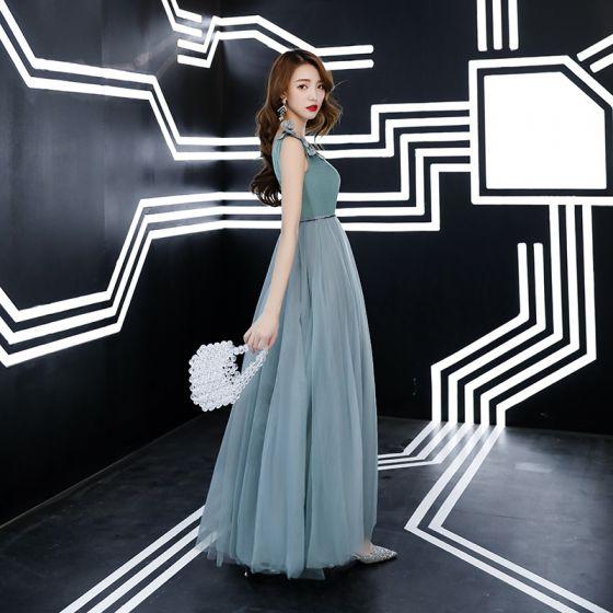 Chic / Belle Vert Jade Robe De Soirée 2019 Princesse Daim V-Cou En Dentelle Fleur Sans Manches Dos Nu Longue Robe De Ceremonie