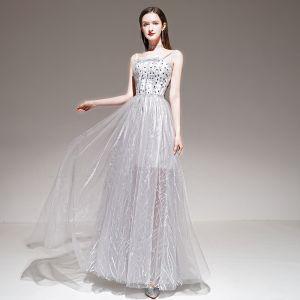 Elegant Grey Summer Evening Dresses  2020 A-Line / Princess Spaghetti Straps Sleeveless Beading Appliques Lace Floor-Length / Long Ruffle Backless Formal Dresses