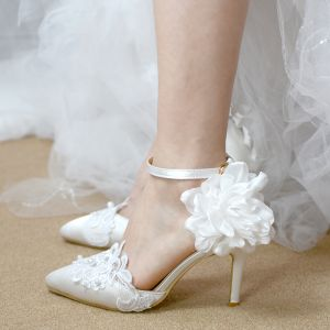Chic / Beautiful Ivory Wedding Shoes 2019 Appliques Ankle Strap Lace Flower Pearl 6 cm Stiletto Heels Pointed Toe Wedding High Heels