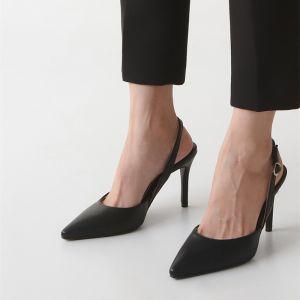 Simple Bureau OL Noire Slingbacks Sandales Femme 2020 10 cm Talons Aiguilles À Bout Pointu Sandales