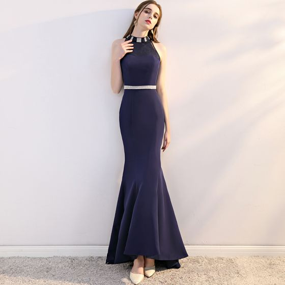 Chic / Beautiful Navy Blue Evening Dresses 2018 Trumpet / Mermaid ...