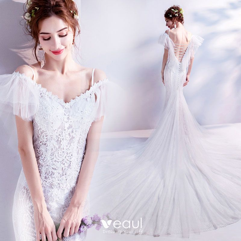 9a64a31015c Affordable White Wedding Dresses 2018 Trumpet   Mermaid Off-The-Shoulder  Spaghetti Straps Short Sleeve Backless Appliques Lace Beading Sequins Chapel  Train ...