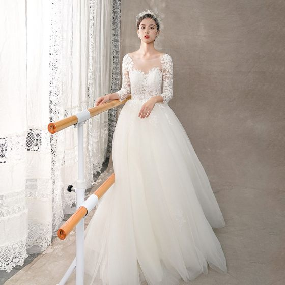 Illusion Ivory See-through Wedding Dresses 2018 A-Line / Princess Scoop Neck Long Sleeve Backless Appliques Lace Sweep Train Ruffle