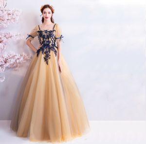 Klassisch Elegante Gelb Lange Abendkleider 2018 A Linie U-Ausschnitt Tülle Stickerei Rückenfreies Perlenstickerei Abend Ballkleider