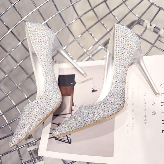 Glitter Zilveren Bruidsschoenen 2019 Leer Rhinestone Pailletten 10 cm Naaldhakken / Stiletto Spitse Neus Huwelijk Pumps
