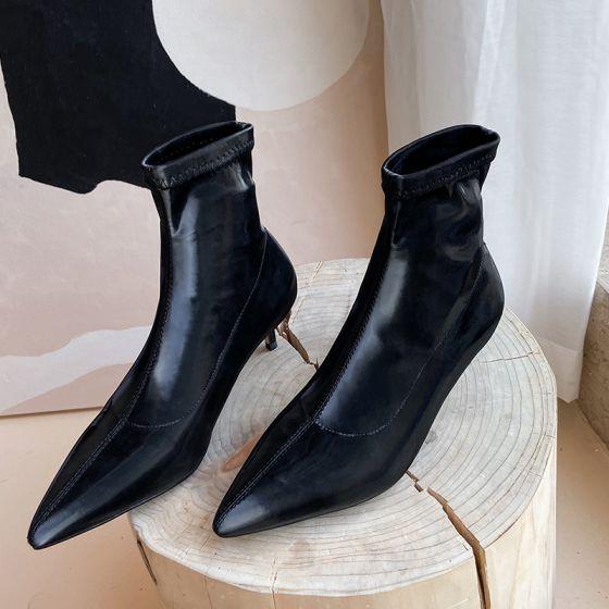 Mode Schwarz Strassenmode Leder Stiefel Damen 2020 Ankle Boots 5 cm Stilettos Spitzschuh Stiefel