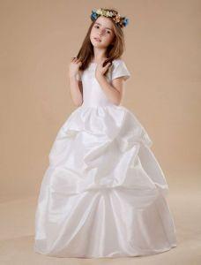 Weißen Kurzen Ärmeln Rüschen Besetzte Satin Blumenmädchen Kleid Kommunionkleider