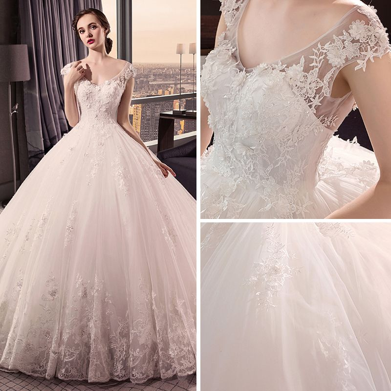 Chic / Beautiful Ivory Wedding Dresses 2018 Ball Gown V-Neck Cap Sleeves Heart-shaped Backless Appliques Lace Pearl Ruffle Royal Train
