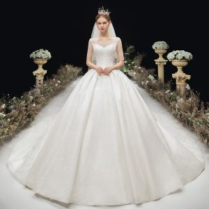 Luxury / Gorgeous Glitter Ivory Wedding Dresses 2020 Ball Gown V-Neck Beading Crystal Sequins Short Sleeve Backless Royal Train