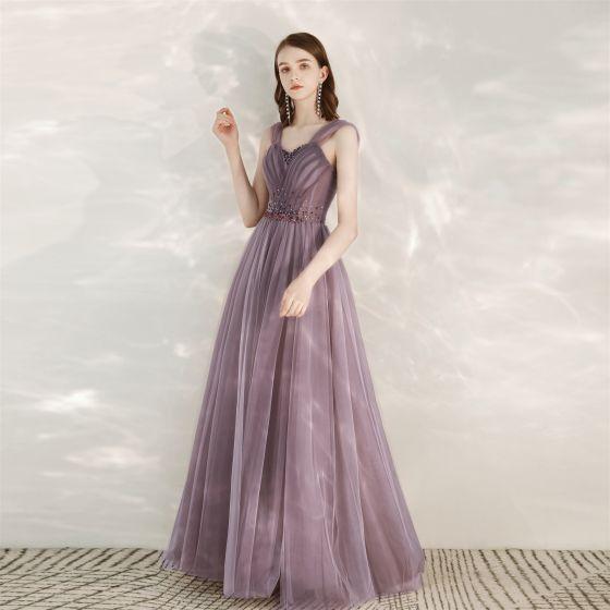 Classy Purple Prom Dresses 2020 A-Line / Princess V-Neck Rhinestone Sequins Sleeveless Backless Floor-Length / Long Formal Dresses