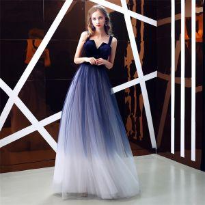 Elegant Royal Blue Gradient-Color Suede Evening Dresses  2019 A-Line / Princess Shoulders Sleeveless Sash Floor-Length / Long Ruffle Backless Formal Dresses