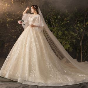 Sparkly Bling Bling Champagne Plus Size Wedding Dresses 2019 A-Line / Princess V-Neck Tulle Glitter Sequins Chapel Train Wedding